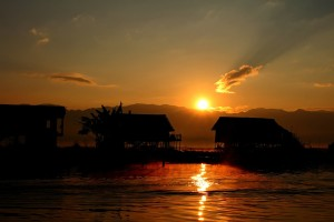 Floating houses at Inle lake